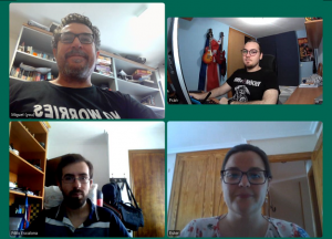 Researchers on video call